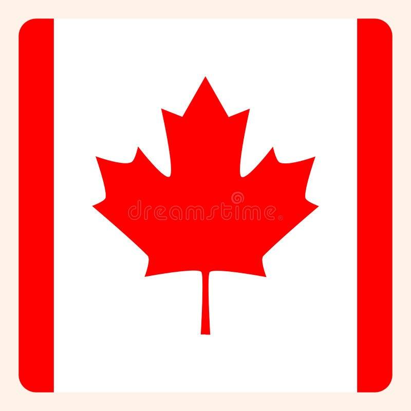 Knapp för Kanada fyrkantflagga, socialt massmediakommunikationstecken stock illustrationer