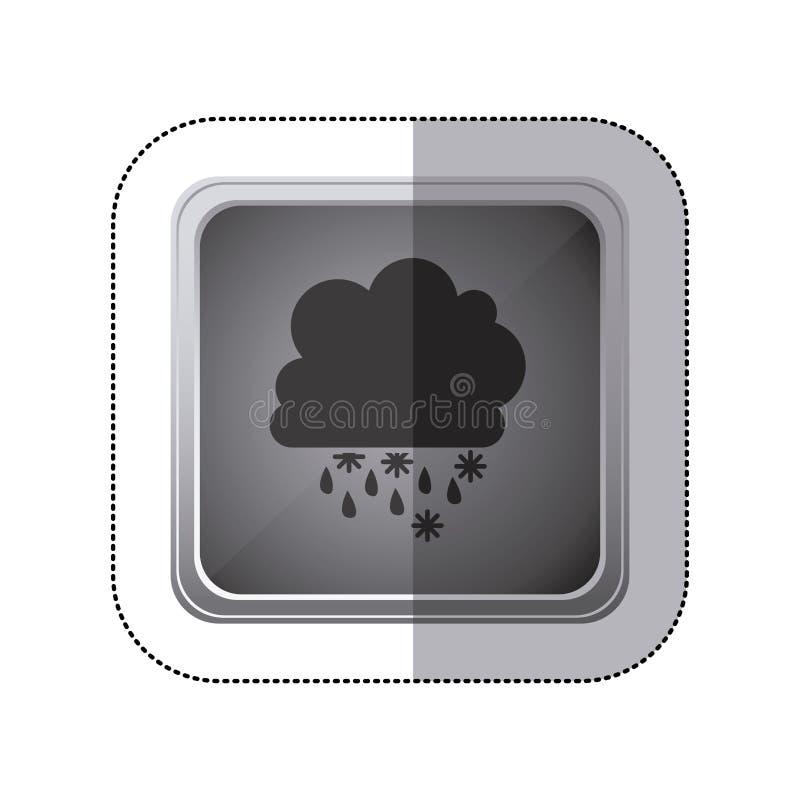 knapp för klistermärkegrå färgfyrkant med konturstackmolnet av moln med regn royaltyfri illustrationer