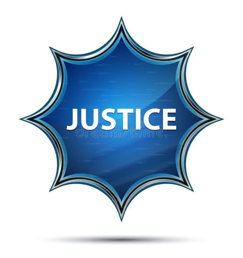 Knapp för magisk glas- sunburst för rättvisa blå royaltyfri illustrationer