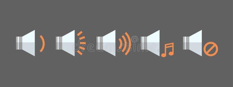 Knapp för manöverenhet för App för uppsättning för symbol för volym för musikspelare ljudsignal lyssnande royaltyfri illustrationer