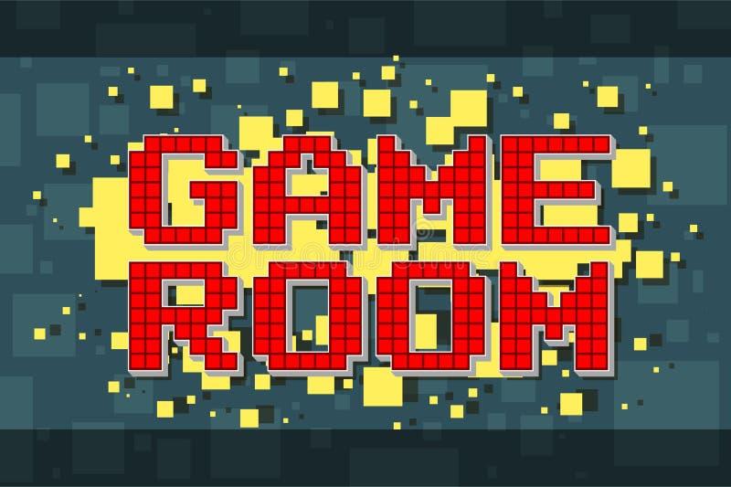 Knapp för modigt rum för rött PIXEL retro för videospel royaltyfri illustrationer