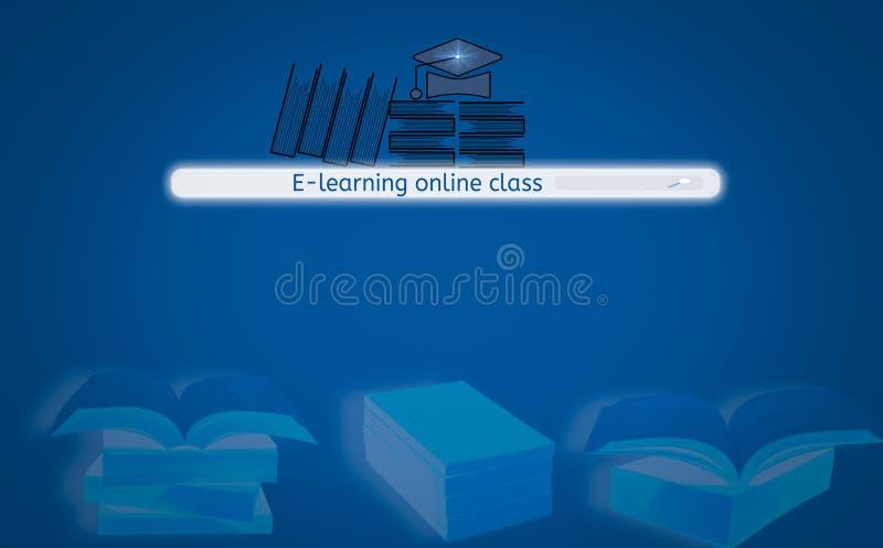 Knapp för motor för skärmmanöverenhetssökande som finner e-att lära, med boksymbolen och hatt, bakgrund isolerad blå och bokbunt, royaltyfri illustrationer