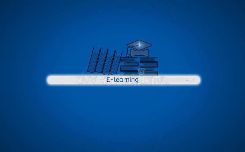 Knapp för motor för skärmmanöverenhetssökande som finner e-att lära, med boksymbolen och hatten, bakgrund isolerade blått, begrep royaltyfri illustrationer