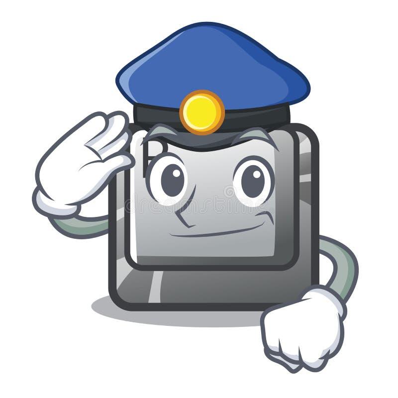 Knapp för polisen som R installeras på tecknad filmtangentbordet royaltyfri illustrationer