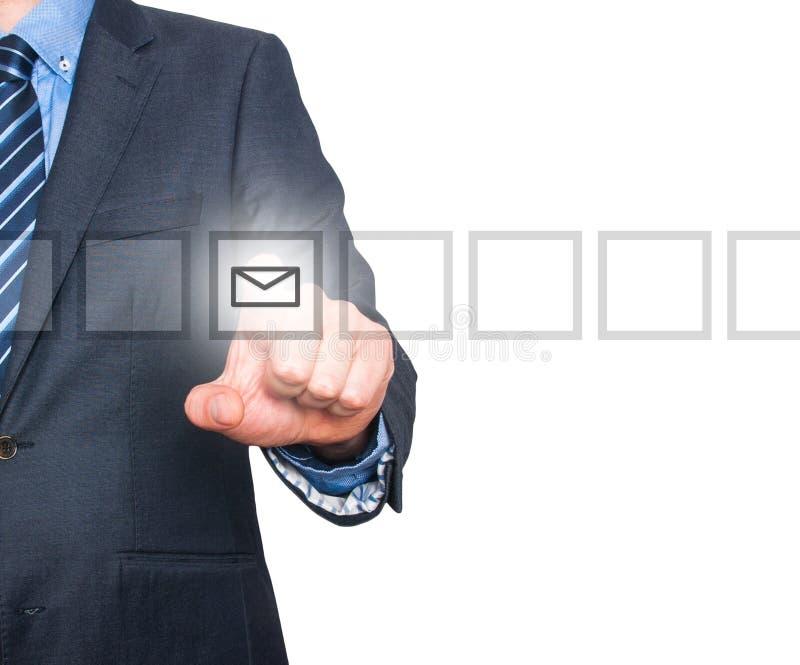 Knapp för post för trycka på för hand för affärsman faktisk arkivbilder