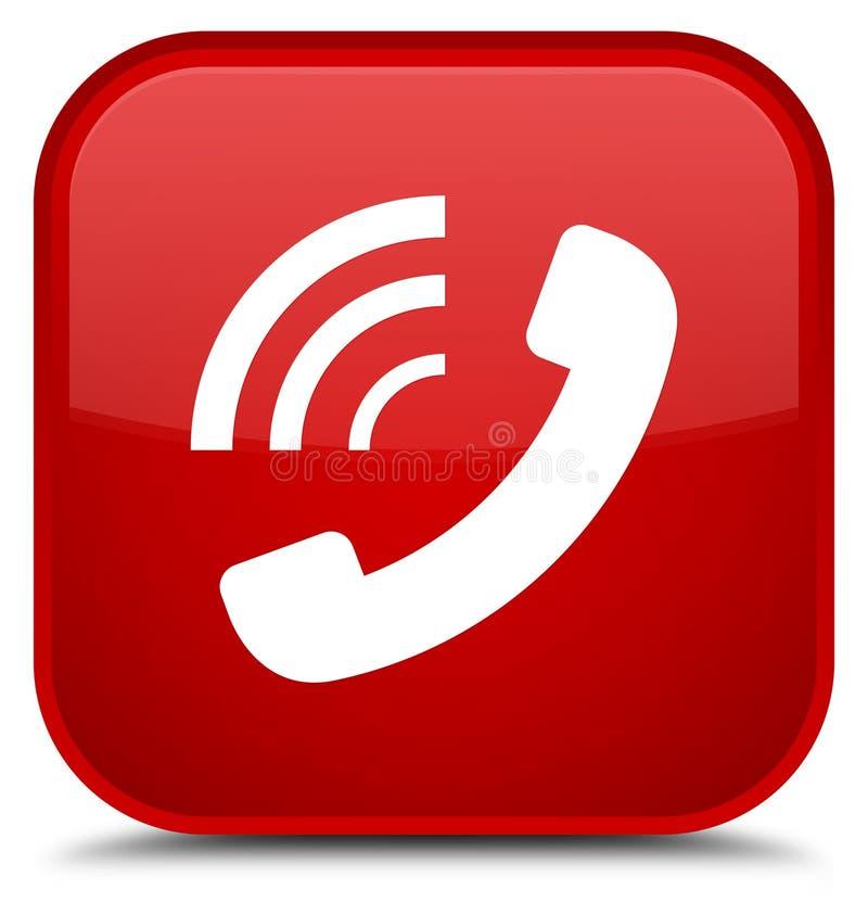 Knapp för röd fyrkant för telefonringningsymbol special royaltyfri illustrationer