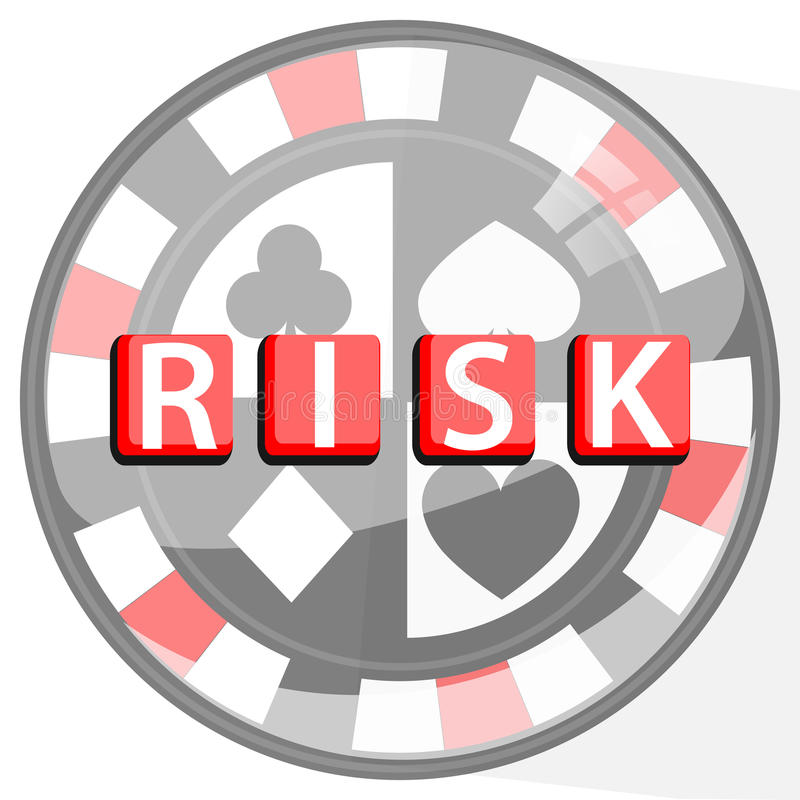 Knapp för riskpokerbegrepp Pokerchip royaltyfri illustrationer
