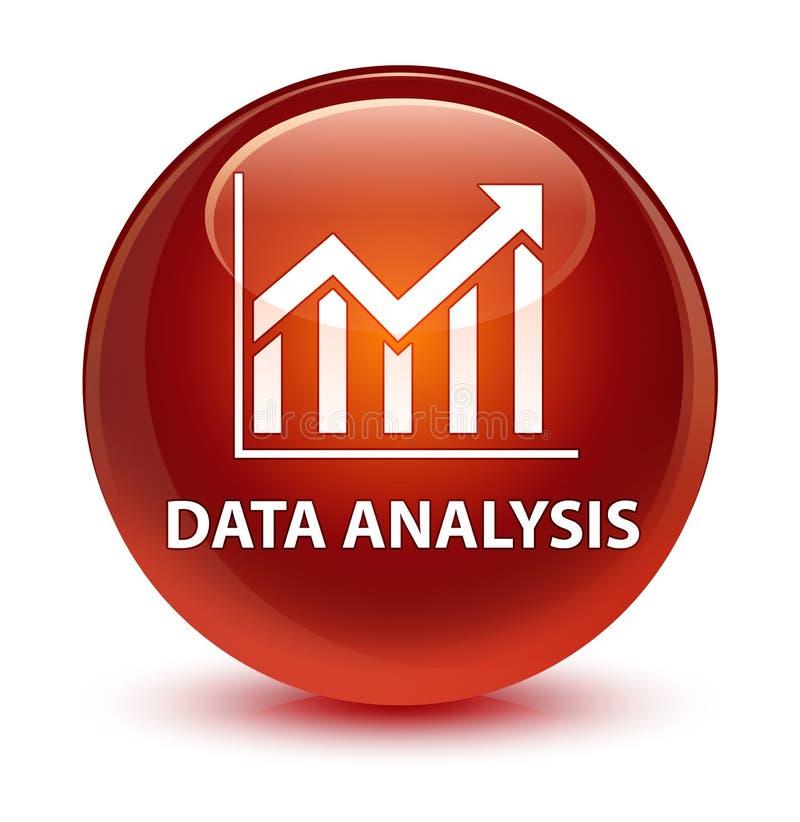 Knapp för runda för brunt för dataanalys (statistiksymbol) glas- royaltyfri illustrationer