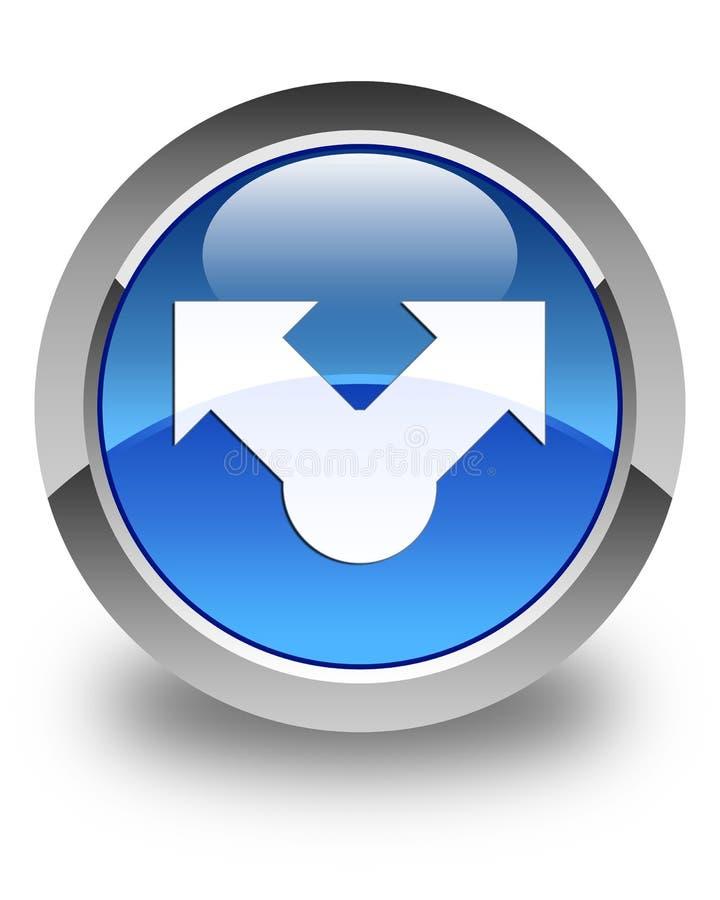 Knapp för runda för blått för aktiesymbol glansig royaltyfri illustrationer