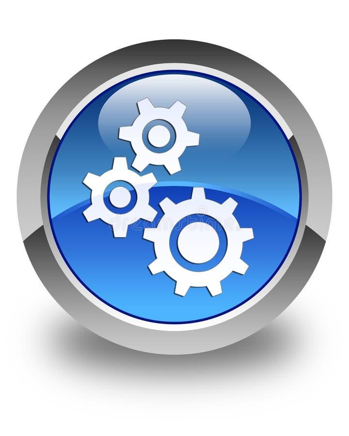 Knapp för runda för blått för kugghjulsymbol glansig vektor illustrationer
