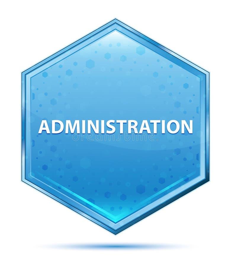 Knapp för sexhörning för administrationskristall blå stock illustrationer