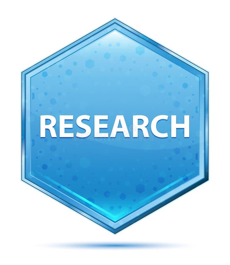 Knapp för sexhörning för forskningkristall blå royaltyfri illustrationer