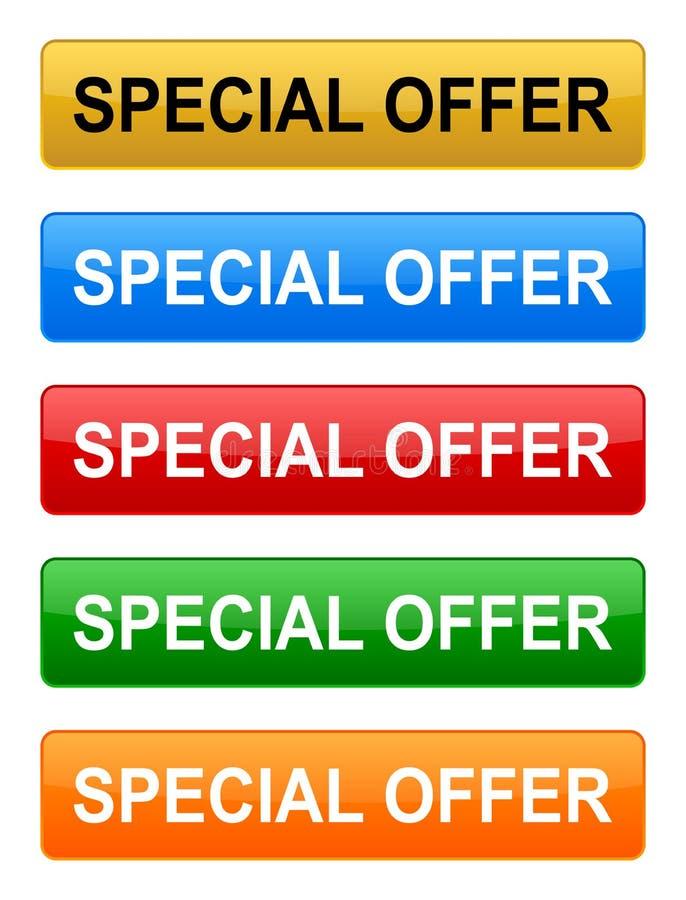 Knapp för specialt erbjudande stock illustrationer