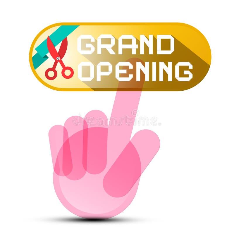 Knapp för storslagen öppning med handen och sax stock illustrationer