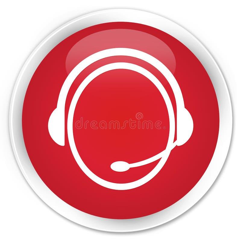 Knapp för symbol för kundomsorgservice högvärdig röd rund royaltyfri illustrationer