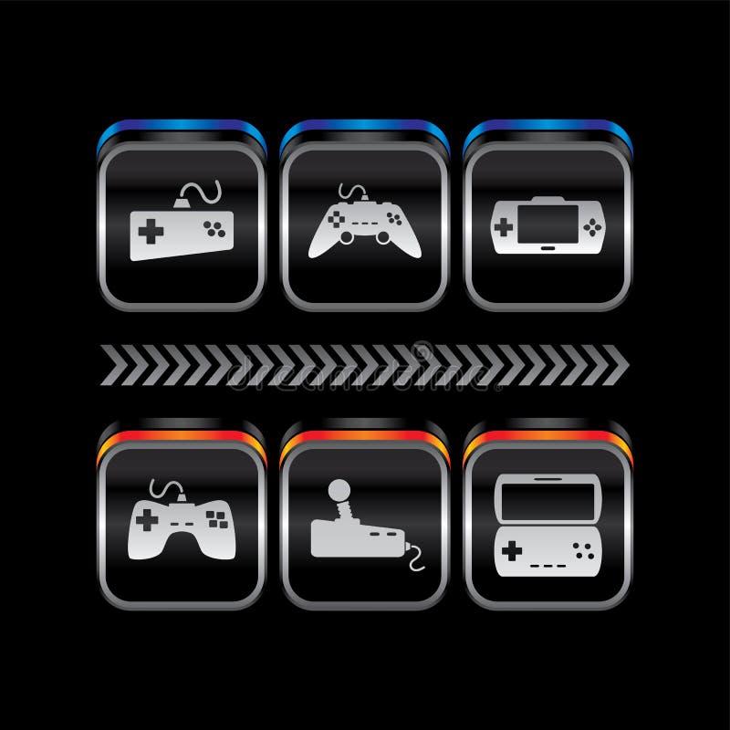 Knapp för symbol för tema för konsol för lek för metallplatta vektor illustrationer