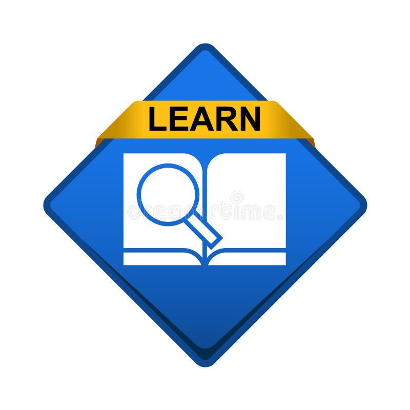 Knapp för symbol för forskningbok stock illustrationer