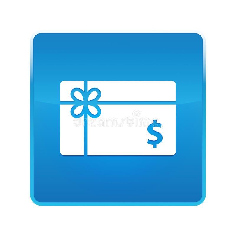Knapp för symbol för tecken för dollar för gåvakort skinande blå fyrkantig stock illustrationer