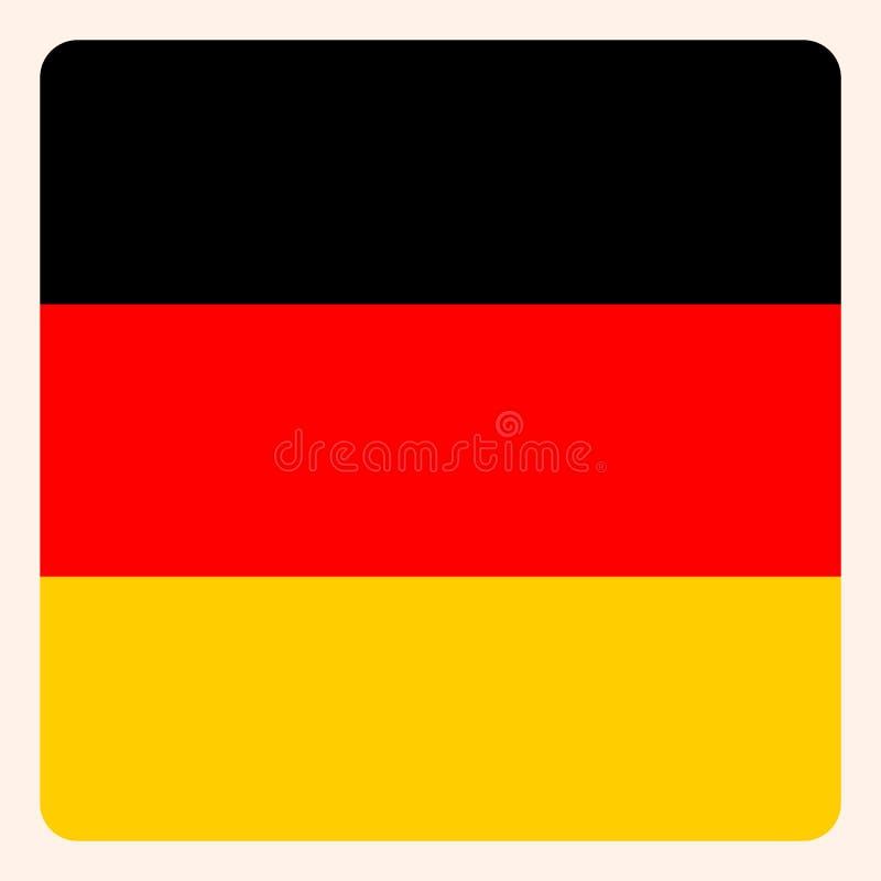 Knapp för Tysklandfyrkantflagga, socialt massmediakommunikationstecken, royaltyfri illustrationer