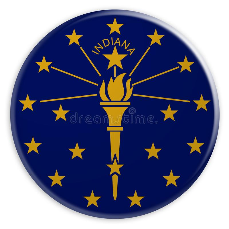 Knapp för USA-stat: Indiana Flag Badge 3d illustration på vit bakgrund vektor illustrationer