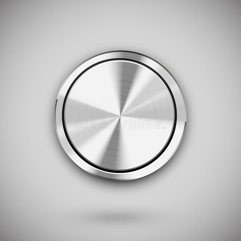 Knapp för vektormetallcirkel stock illustrationer