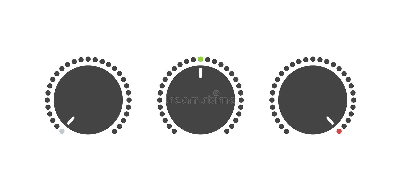 Knapp för volymuppsättning Stämmaknapp Av och på knapp Plan stil - Mappen för vektorn vektor illustrationer