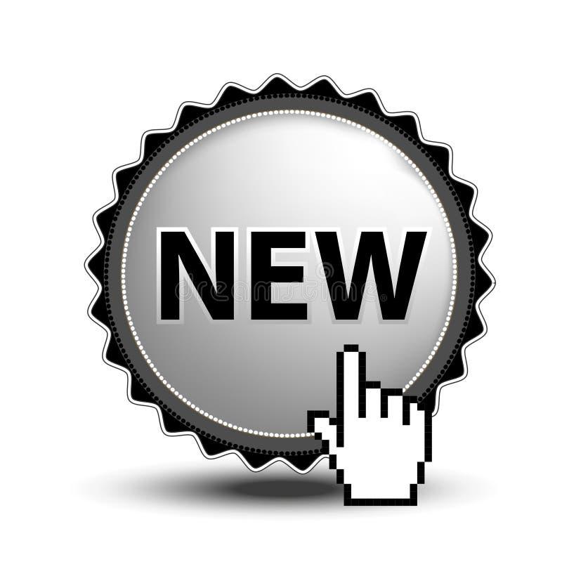 Knapp för website eller app Ny knapp -, runt kromtecken med markören av handen vektor illustrationer