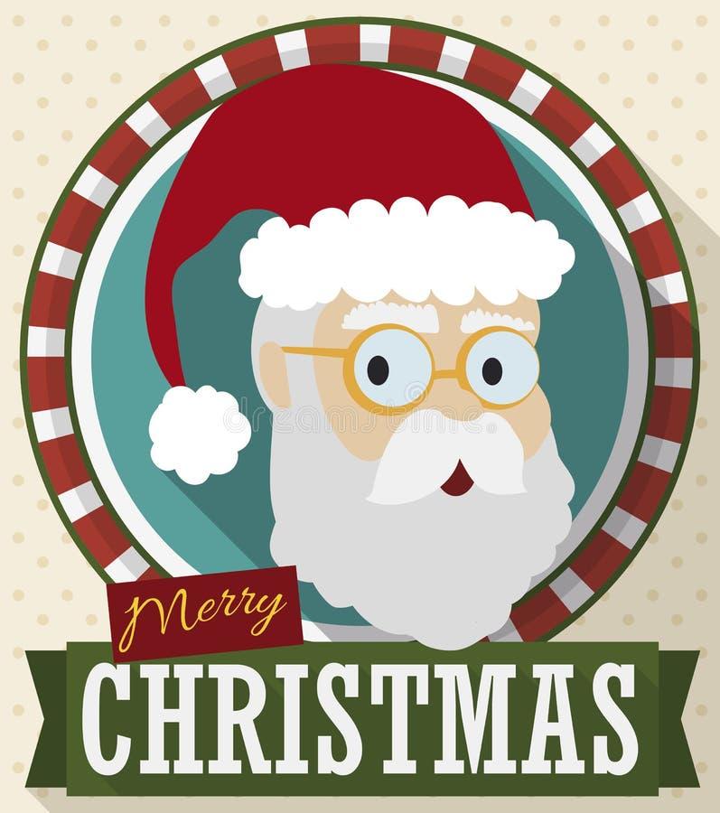 Knapp i plan stil med jultomten och band för jul, vektorillustration stock illustrationer