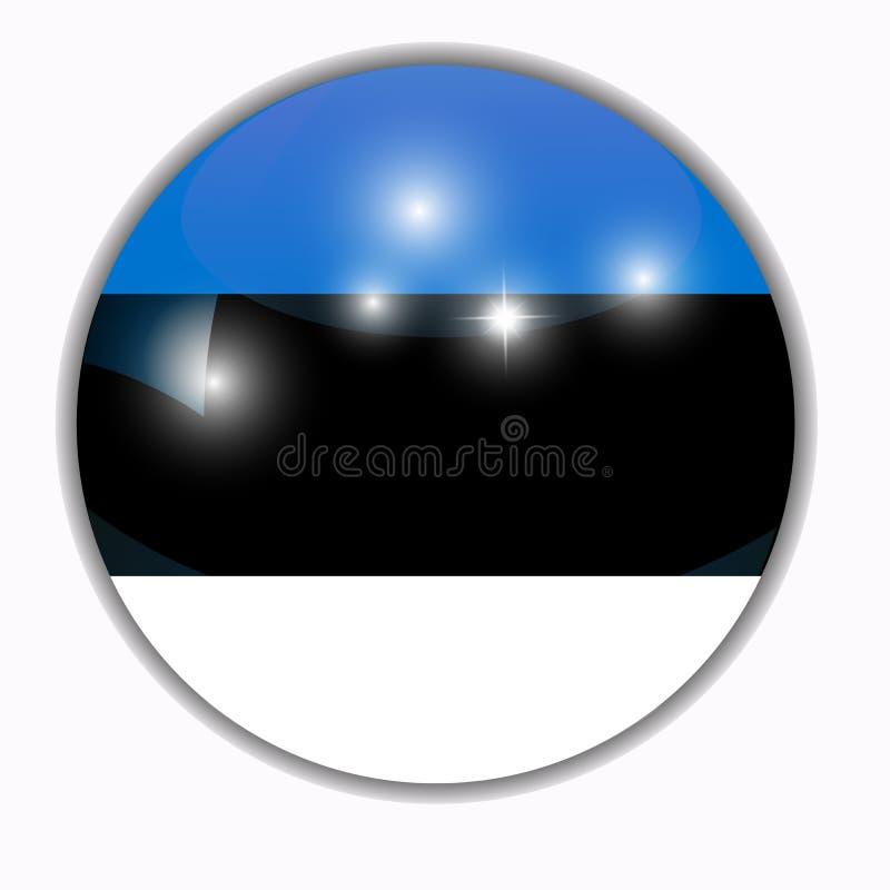 Knapp med flaggan av Estland stock illustrationer