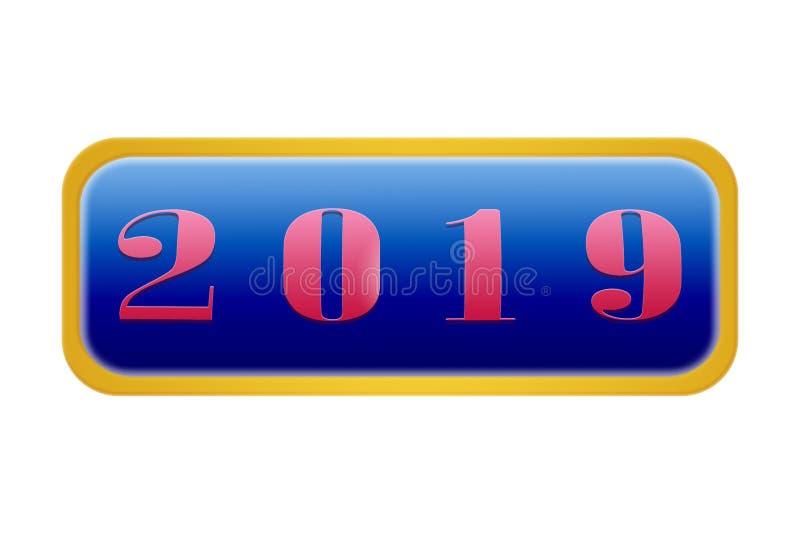 Knapp med numret 2019, vit bakgrund vektor illustrationer