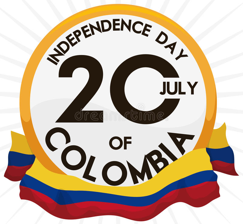 Knapp med påminnelsedatumet och flagga för den Colombia självständighetsdagen, vektorillustration stock illustrationer