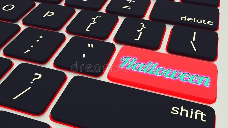 Knapp med tangentbordet för texthalloween bärbar dator framförande 3d royaltyfri illustrationer