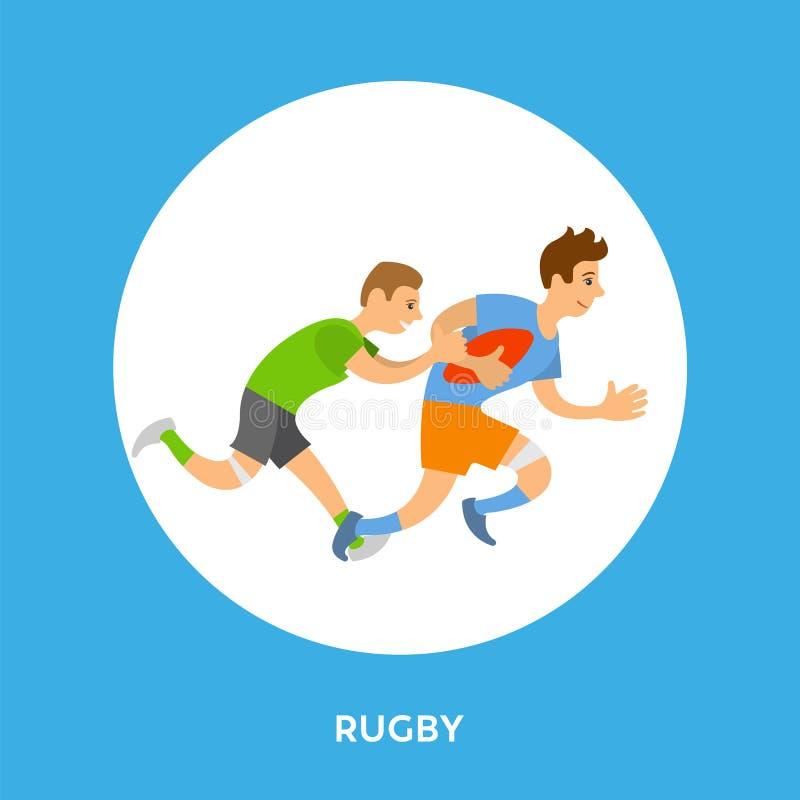 Knapp och spelare för ram för lek för rugbyligafotboll vektor illustrationer