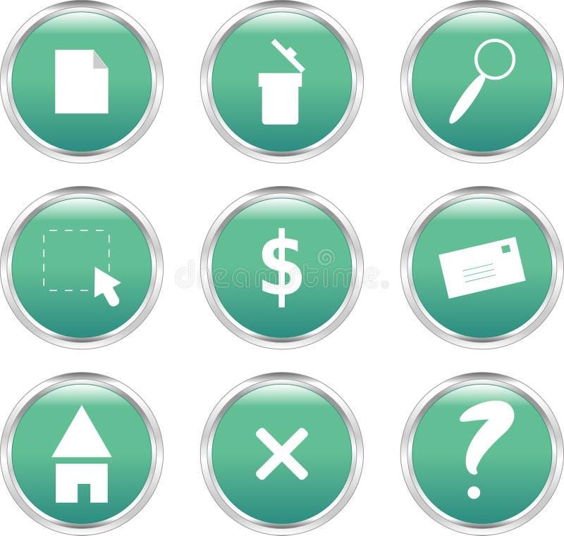 knappar cirklar gröna nio formad rengöringsduk stock illustrationer