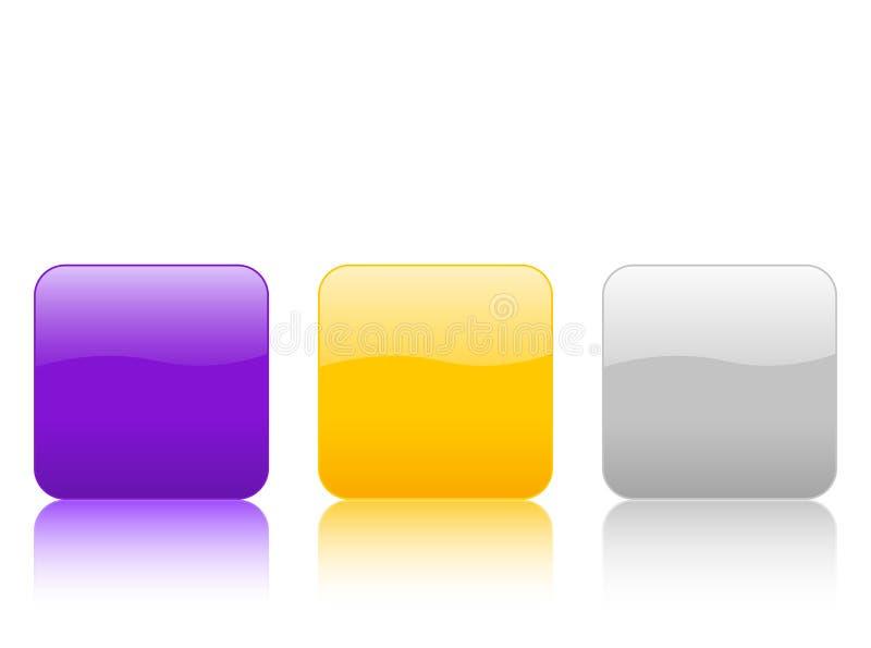 knappar color rundade fyrkanter vektor illustrationer