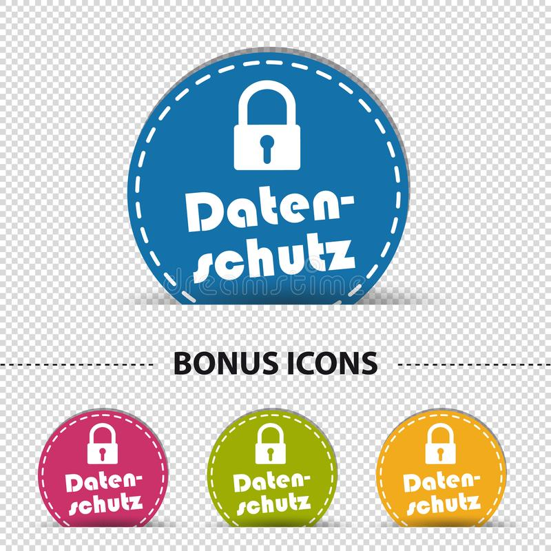 Knappar för cirkel för snitt för tysk för dataskydd - färgrik vektorillustration - som isoleras på genomskinlig bakgrund stock illustrationer
