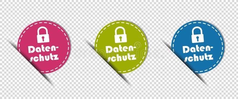 Knappar för cirkel för snitt för tysk för dataskydd - färgrik vektorillustration - som isoleras på genomskinlig bakgrund royaltyfri illustrationer