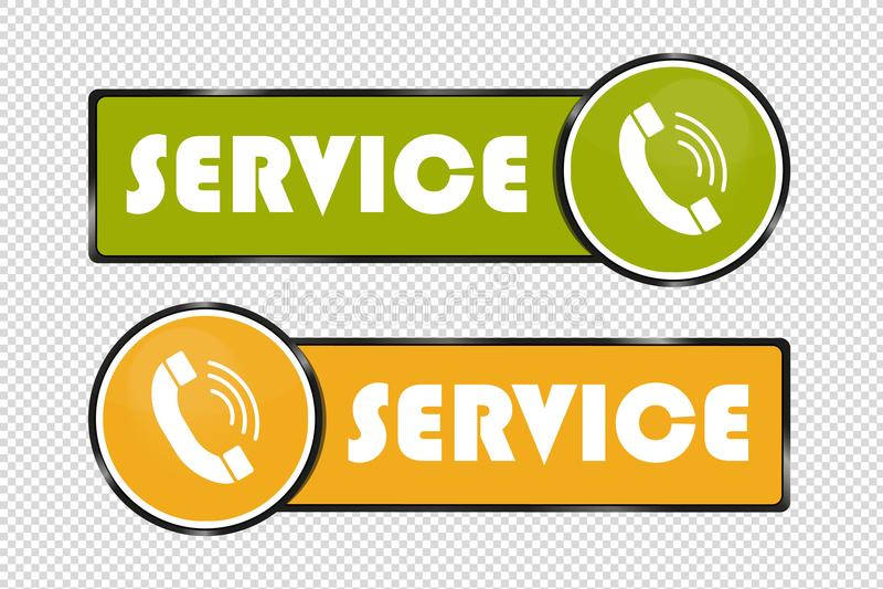 Knappar för tjänste- telefon - fyrkant- och cirkelsymboler - gräsplan- och gulingvektorillustration - som isoleras på genomskinli vektor illustrationer