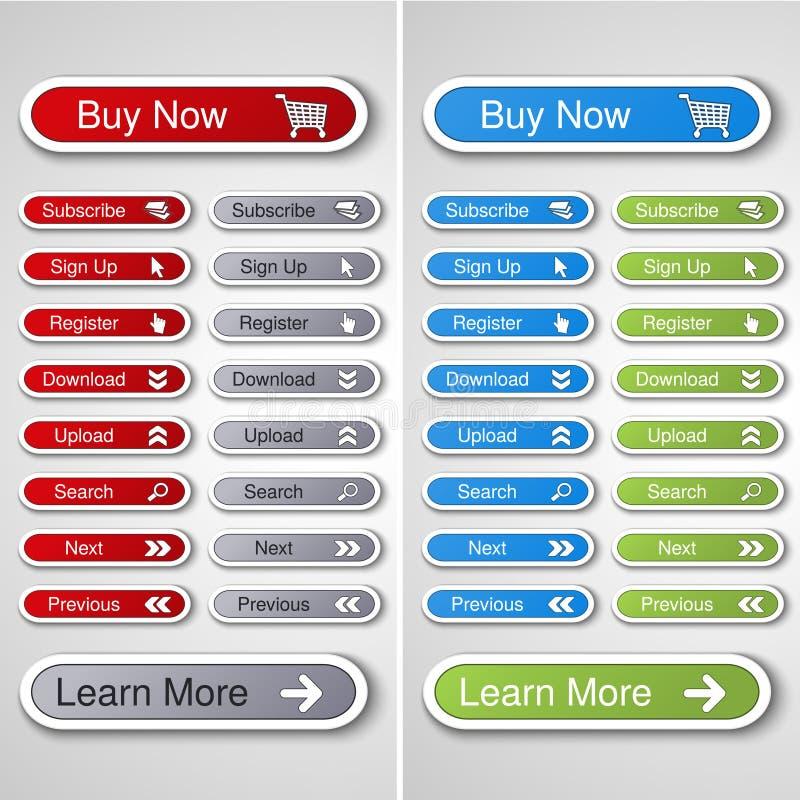 knappar för website eller app royaltyfri illustrationer