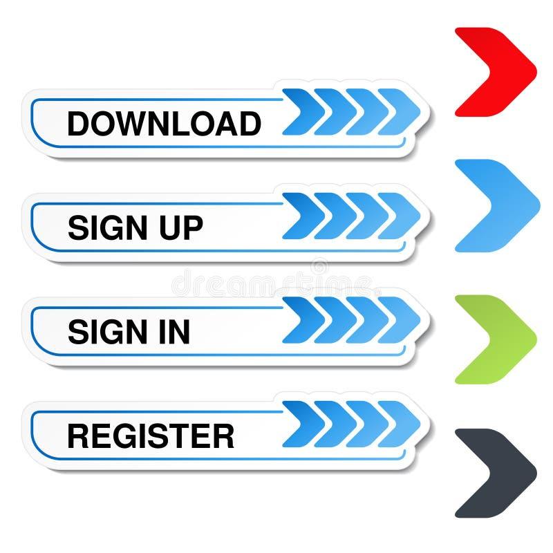 knappar för website eller app Knappen - underteckna upp, undertecknar in, registrerar, nedladdar, laddar upp royaltyfri illustrationer
