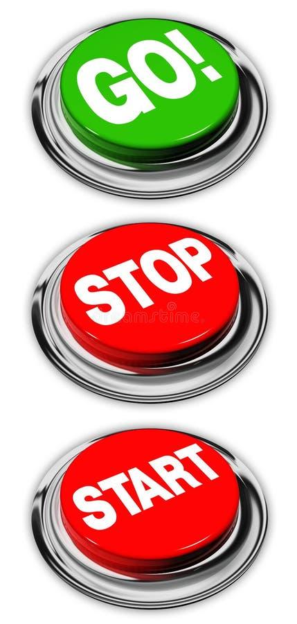 knappar går startstoppet stock illustrationer