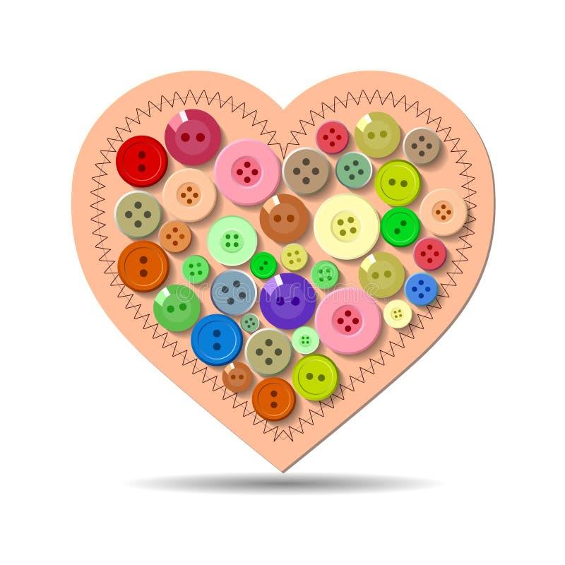 Knappar. Hjärta. Valentin vektor illustrationer