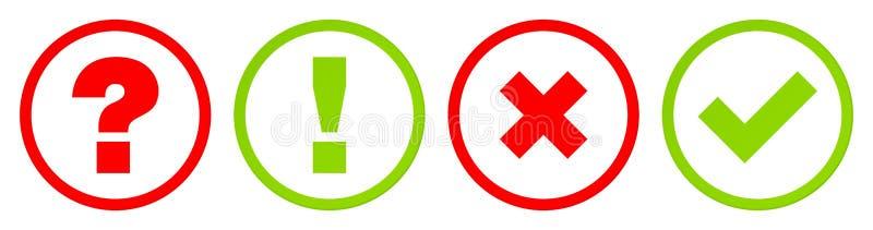 Knappar ifrågasätter svar, och Checkmarks ställer in röd gräsplan för kontur vektor illustrationer