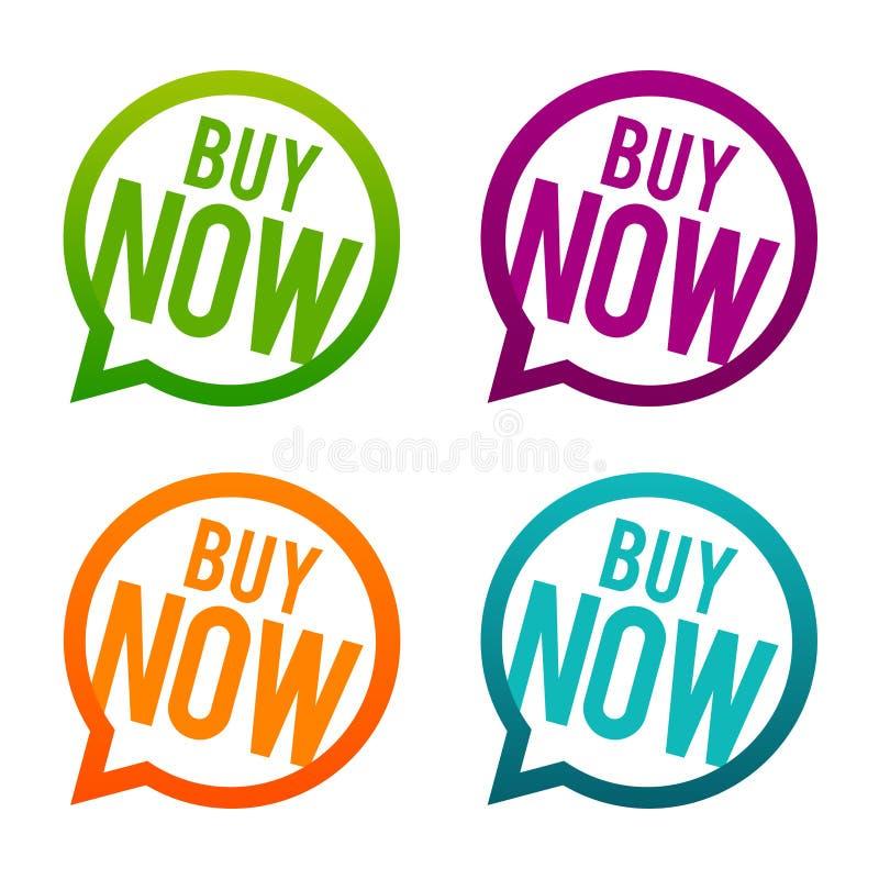 knappar köper nu Vektor för cirkel Eps10 stock illustrationer