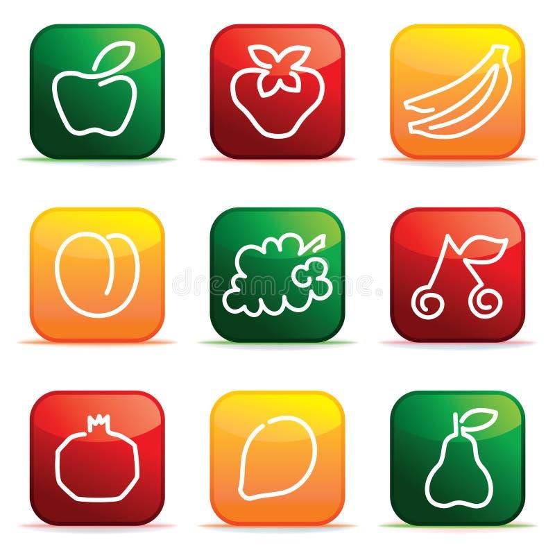 Knappar med bilden av frukt stock illustrationer