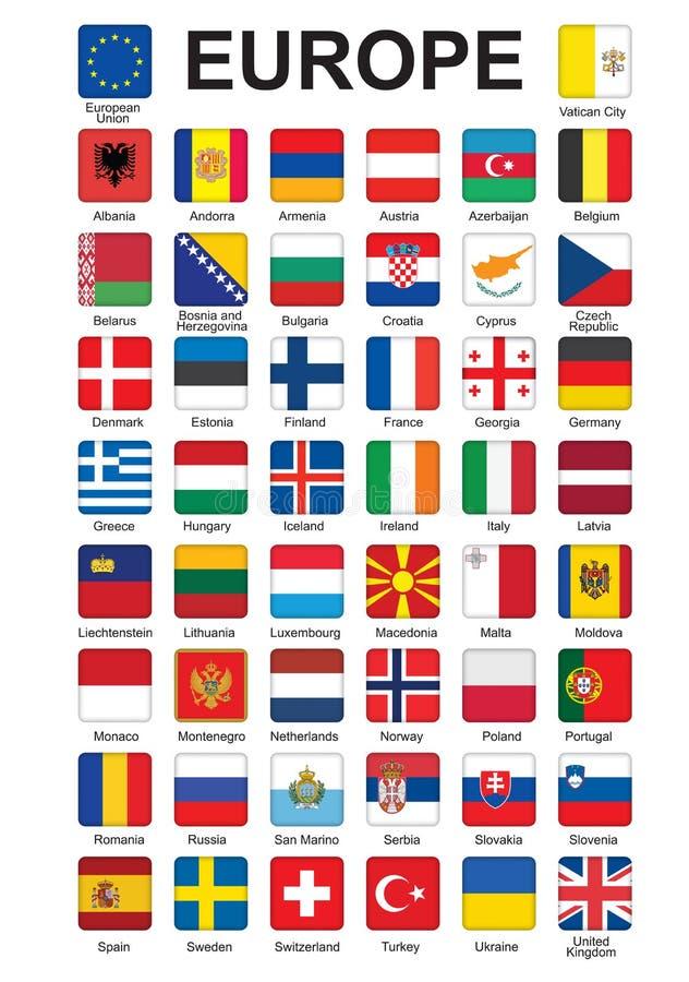 Knappar med flaggor av Europa royaltyfri illustrationer