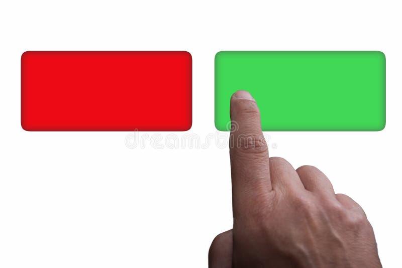 Knappar med utrymme, gräsplan och rött för kopia, och finger som pekar, på en vit bakgrund stock illustrationer
