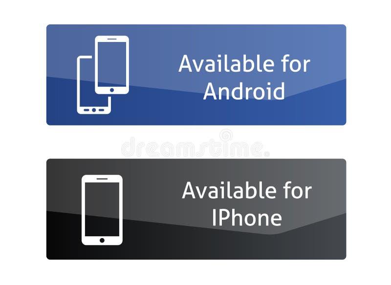 Knappar som är tillgängliga för android och Iphone royaltyfri illustrationer