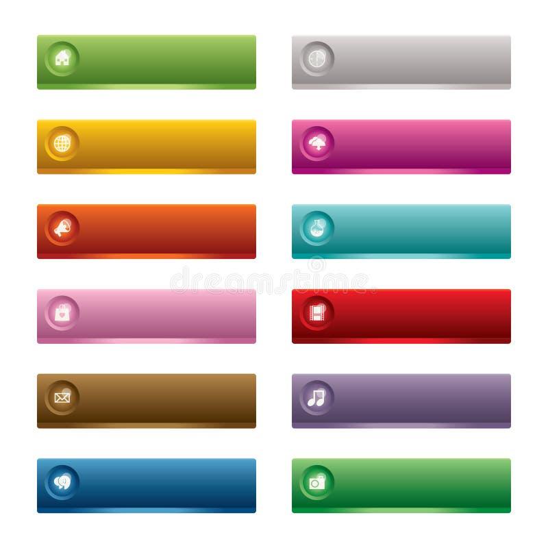knappar som fäster rengöringsduk för illustrationbanavektor ihop stock illustrationer