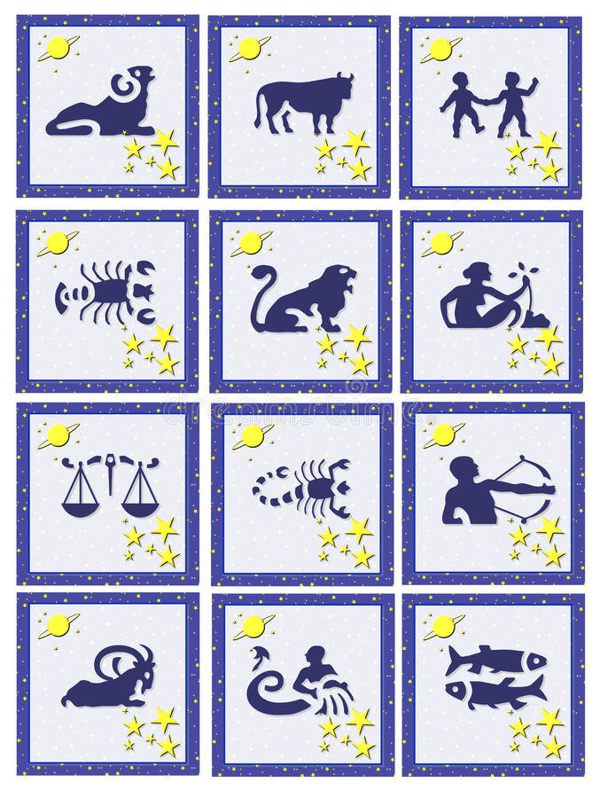 knappar ställde in zodiac stock illustrationer